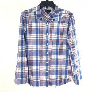 J Crew Blue Orange Plaid Textured Cotton Shirt